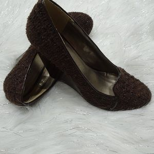 Bakers Brown Tweed Wedges Size 8.5